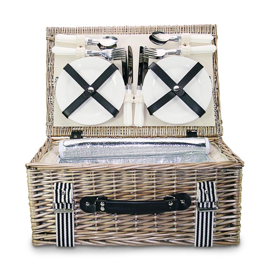 picknickkorb f r 4 personen 45 x 30 x 19 cm gusta. Black Bedroom Furniture Sets. Home Design Ideas