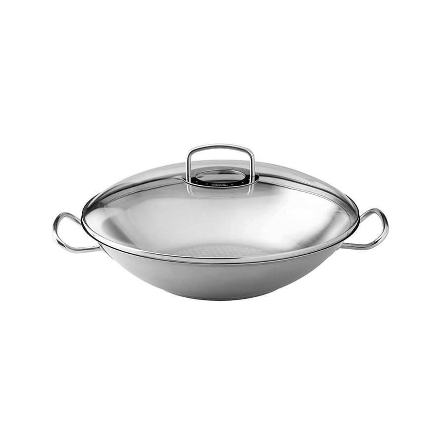 edelstahl wok original profi collection mit glasdeckel 35 cm fissler. Black Bedroom Furniture Sets. Home Design Ideas