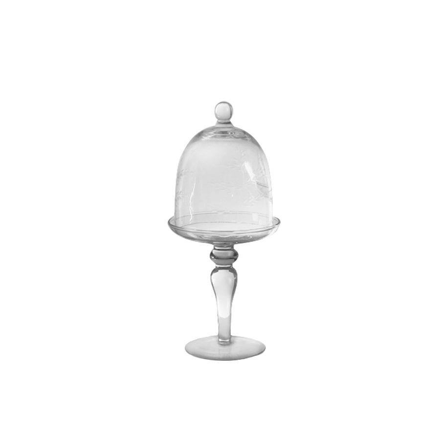 glas schale auf fu mit glocke 22 cm. Black Bedroom Furniture Sets. Home Design Ideas
