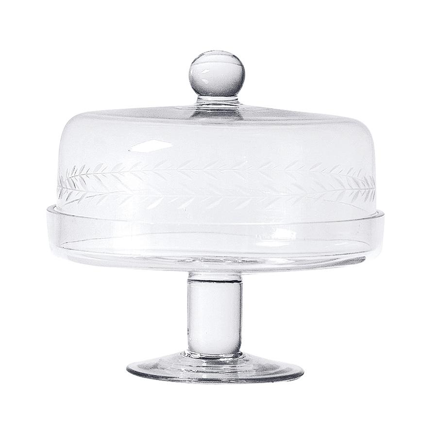 glas schale auf fu pr sentoir mit haube. Black Bedroom Furniture Sets. Home Design Ideas