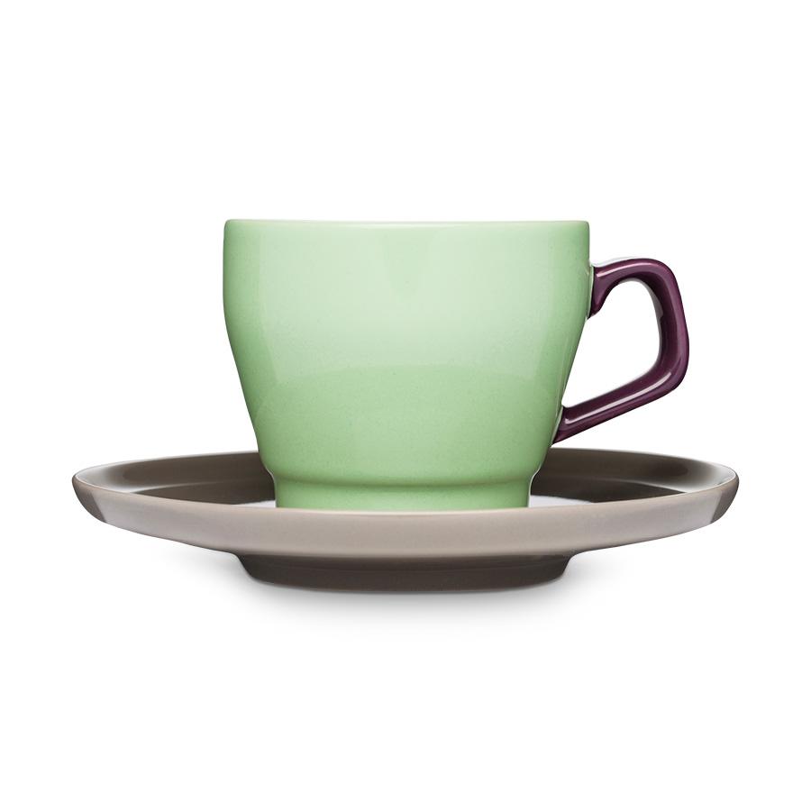 kaffeetasse mit untertasse pop gr n pflaume braun sagaform. Black Bedroom Furniture Sets. Home Design Ideas