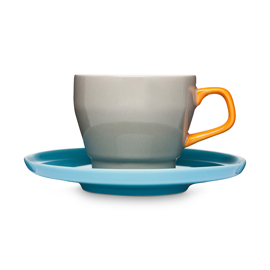 Kaffeetasse mit Untertasse POP braun-orange-türkis - Sagaform
