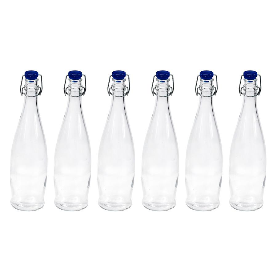 6er set flasche mit b gelverschluss blau 1000 ml borgonovo. Black Bedroom Furniture Sets. Home Design Ideas